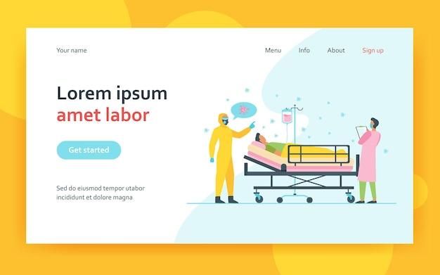 Medici che prestano cure alla pagina di destinazione del paziente covid