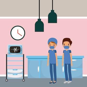 Doctors in hospital room ekg machine furniture drawers