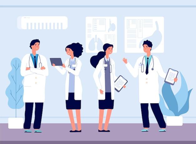 Врачи в больнице. медицинская бригада, медсестер и здравоохранение. персонал клиники разговаривает и улыбается векторные иллюстрации. бригада медицинской больницы, медицина и здоровье, врач со стетоскопом