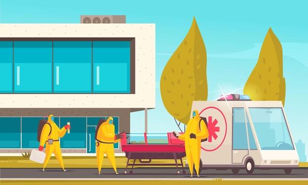 Врачи в защитных костюмах перемещают инфицированного пациента в больницу, иллюстрация