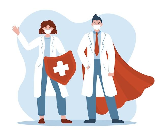 顔の医療用マスクを持つ医師の男性と女性のスーパーヒーローは、シルドを保持し、マントを着ています