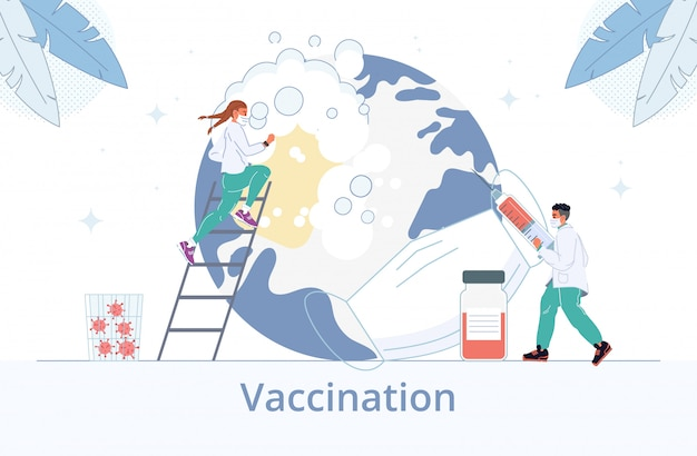 Doctors in mask provide vaccination disinfection