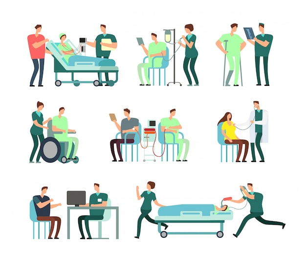 Doctors, medical nurse and patients in hospital activity vector people for healthcare concepts