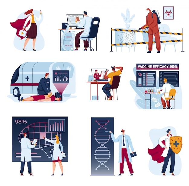 Медицина будущих иллюстраций врачей, мультипликационная плоская футуристическая коллекция инноваций в здравоохранении, анализ медицинских наук