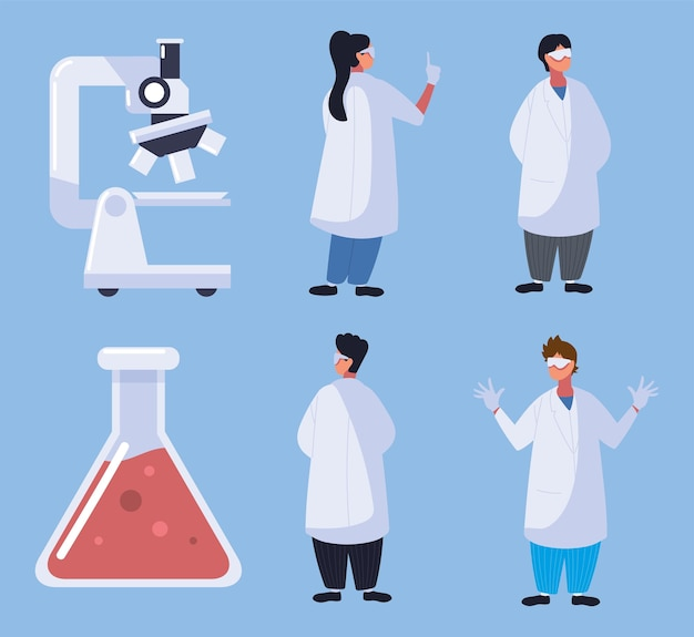 의사 현미경 플라스크 화학 세트