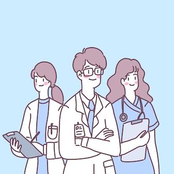 医師、看護師、助手が患者を治療する準備をします。