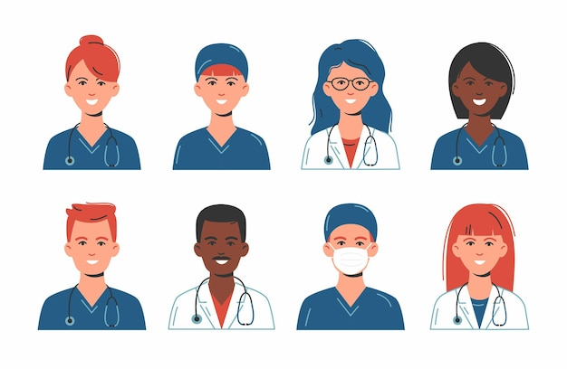 Doctors and nurses avatars in medical masks. set of medicine employee faces. group men and women portfolio avatars isolated on white background.  illustration. healthcare concept. hospital staff