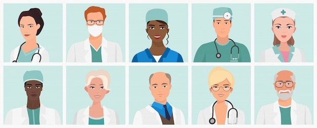 Doctors and nurses avatars set. medical staff icons.