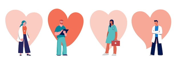 Doctors and nurses concept design - group of medical professionals. vector illustration