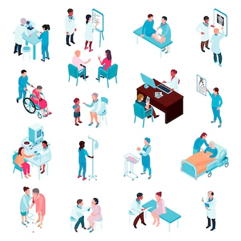 Doctors and nurses isometric set