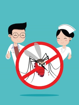 Doctors and nurses no mosquito sign