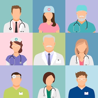 Doctors and nurses profile vector. surgeon and therapist, oculist and nutritionist avatars