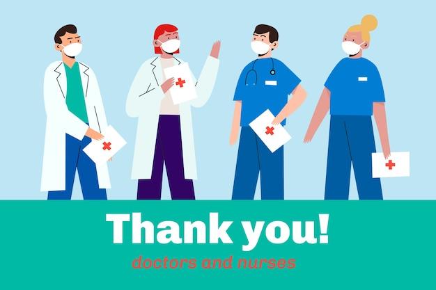Doctors and nurses wearing masks