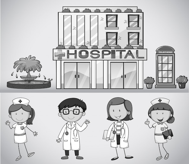 Doctors and nurses working at the hospital