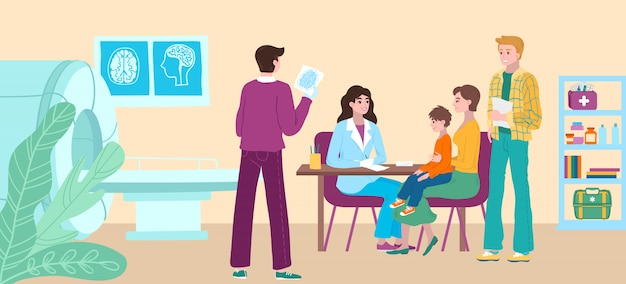 Назначение офиса докторов, ребенок медицинского осмотра терпеливый в больнице, мать и больной ребенок посещают иллюстрацию шаржа докторов.