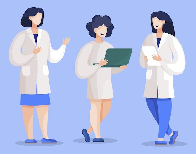 연구 결과를 논의하는 의사 또는 과학자. 보고서 또는 문서와 여성 캐릭터의 집합입니다.