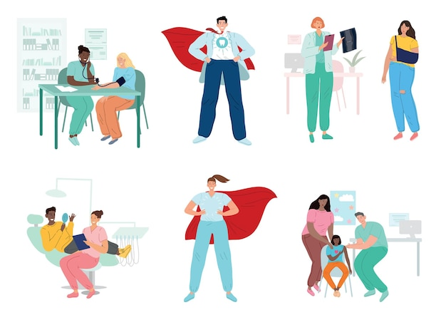Doctors and patients, diverse medical workers
