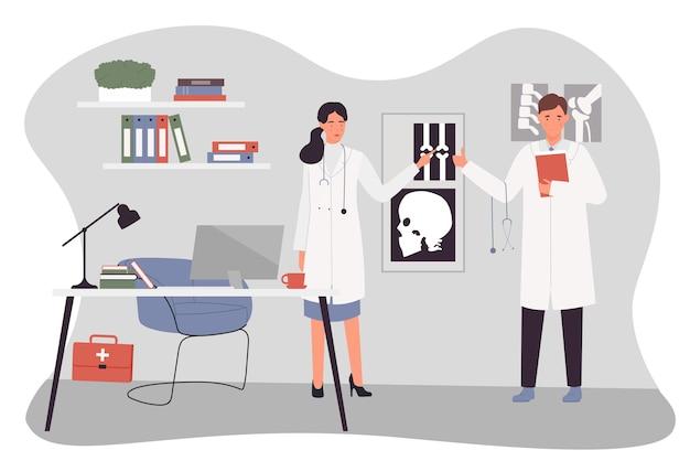 병원 그림에서 일하는 의사 사람들