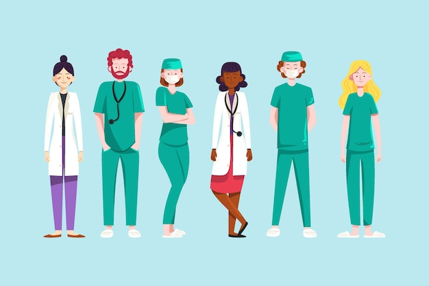 Doctors and professional hospital staff