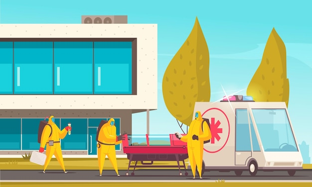 Doctors in protection suits moving infected patient to hospital illustration