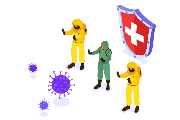 Doctors in protective coverall stop coronavirus