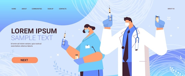 Doctors in protective masks holding syringe and bottle vial coronavirus vaccine development fight against covid-19 vaccination concept portrait horizontal copy space vector illustration