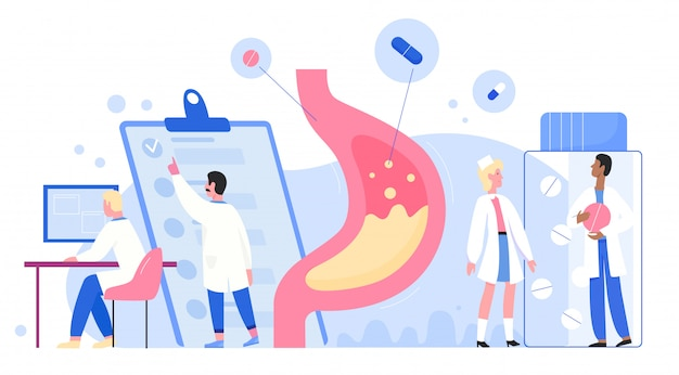 Doctors scientists people in laboratory researches stomach healthcare medical concept flat. disorder, gastric acid, liquid nausea, gastritis, determine diagnosis disease treatment.
