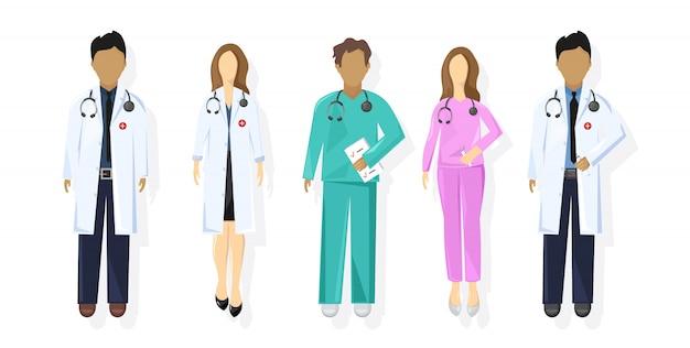 医師は、フラットスタイルを設定します。医療スタッフのコンセプト。開業医の若い医師の男性と女性