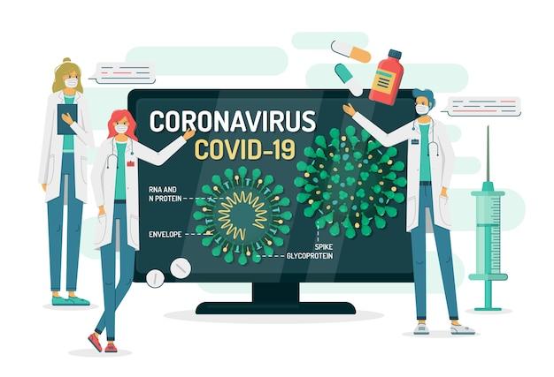 医師はテレビやコンピューターのモニターにコロナウイルスの内部構造を示します