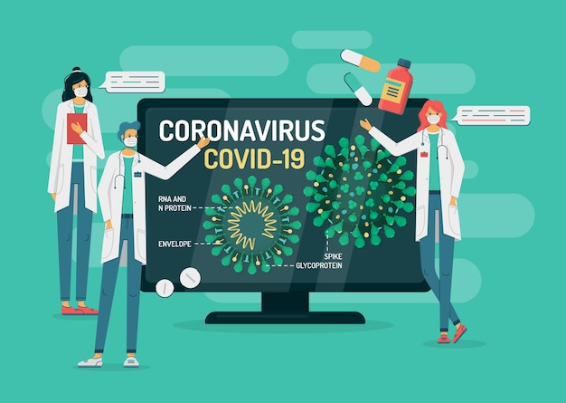 Doctors show coronavirus internal structure on a tv or computer monitor