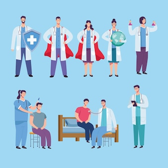 Doctors staff group and patients  illustration