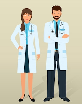 医師スタッフ。さまざまなポーズで医療個人。男性と女性の医師。