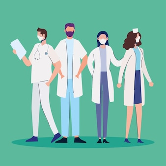 Doctors staff wearing medical masks standing characters  illustration