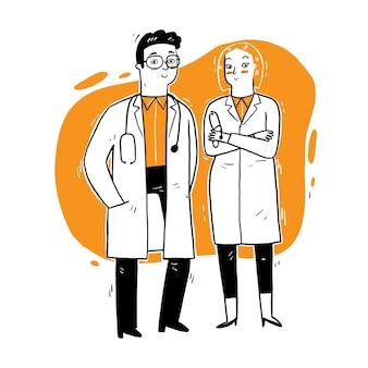 서서 말하는 의사. 의사의 근무일에 대한 의료 디지털 벡터.