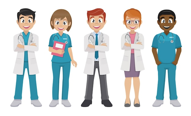 의사 팀 남성과 여성 의사 의료