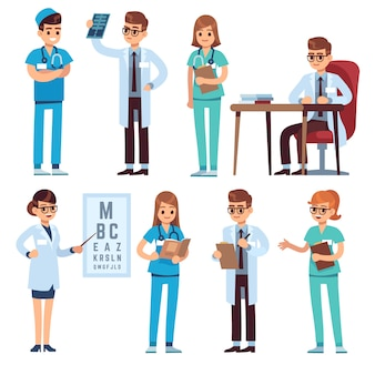 Doctors team. medical staff people doctor nurse surgeon pharmacist dentist professional medic hospital uniform,   characters