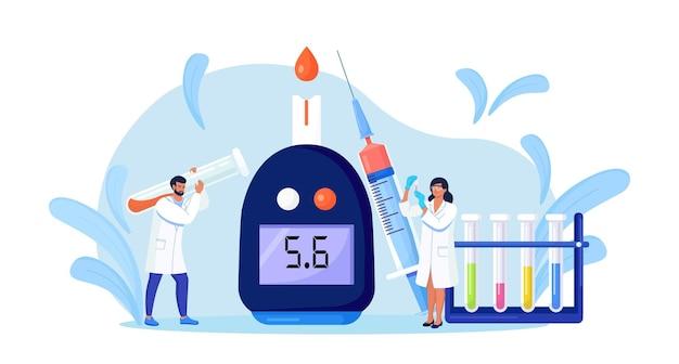 저혈당 또는 당뇨병 진단을 위해 혈당계를 사용하여 혈당을 검사하는 의사. 실험실 장비, 주사기, 시험관. 설탕 수준을 측정하는 의사