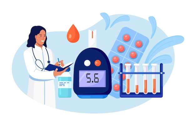 저혈당증이나 당뇨병 진단을 위해 혈당계를 사용하여 혈당과 포도당에 대해 혈액을 검사하는 의사. 실험실 테스트 장비, 알약 및 테스트 튜브