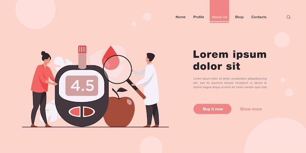 Doctors testing blood for sugar and glucose, using magnifying glass and glucometer for hypoglycemia or diabetes diagnosis landing page in flat style