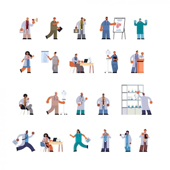 Doctors in uniform different clinic hospital workers set medicine healthcare concept full length flat