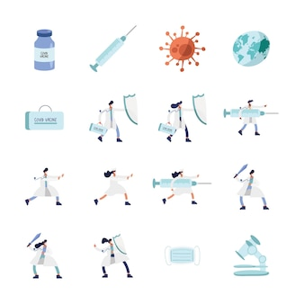 Doctors wearing medical masks with  vaccine icons  illustration