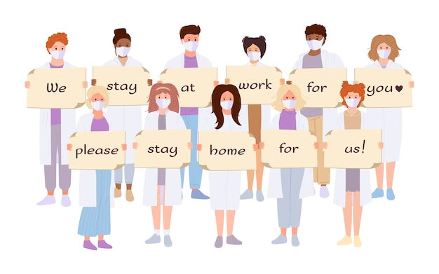 Doctors white coat, medical mask cartoon set. paramedics hold banner stop coronavirus stay home