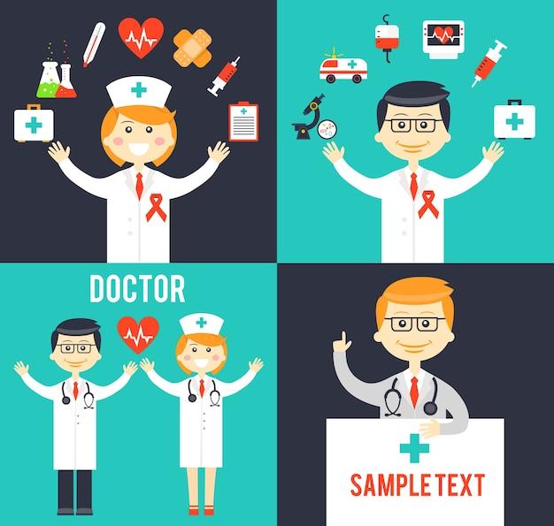 Врачи с медицинскими элементами. термометр и лекарства, уход за сердцем и неотложная помощь