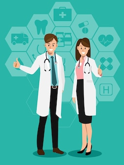 Doctors with medical icons background.