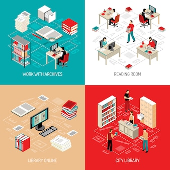 Document archive library isometric elements and characters