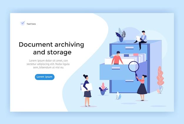 Иллюстрация концепции архивирования и хранения документов, идеально подходящей для веб-дизайна