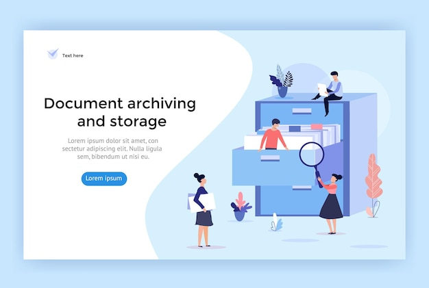 Document archiving and storage concept illustration perfect for web design