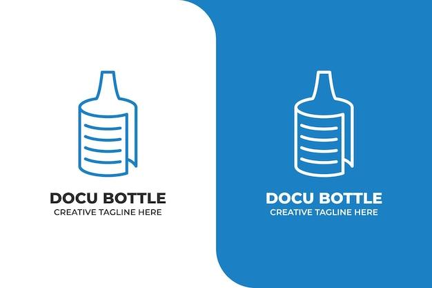 Document bottle monoline logo business