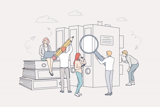 ドキュメント、ビジネス、会計、検索、チームワークの概念