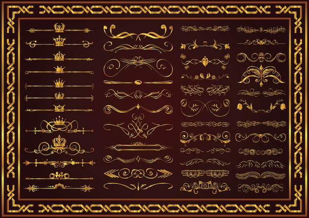 Document decorative elements elegant gold color